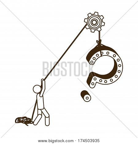 sketch contour person pulling rope question mark vector illustration