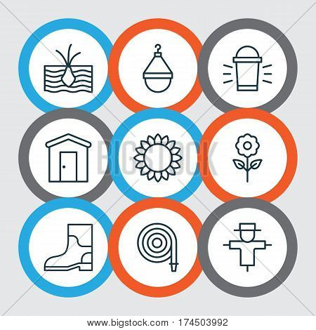 Set Of 9 Agriculture Icons. Includes Farmhouse, Decorative Plant, Rubber Boot And Other Symbols. Beautiful Design Elements.