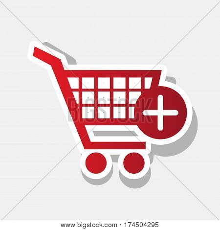 Shopping Cart with add Mark sign. Vector. New year reddish icon with outside stroke and gray shadow on light gray background.