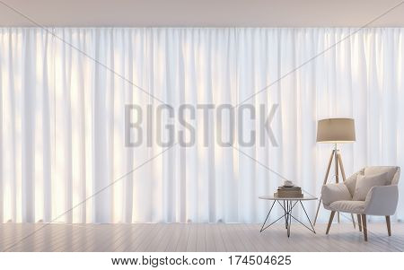 Modern white living room minimal style 3D rendering Image. There are decorated room with white translucent curtain and white armchair