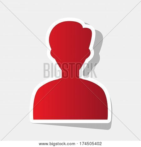 User avatar illustration. Anonymous sign. Vector. New year reddish icon with outside stroke and gray shadow on light gray background.