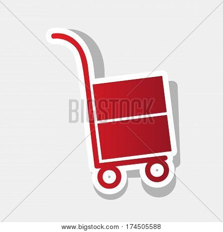 Hand truck sign. Vector. New year reddish icon with outside stroke and gray shadow on light gray background.