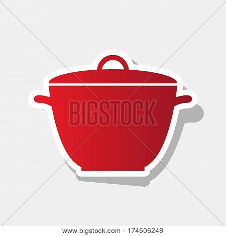Saucepan simple sign. Vector. New year reddish icon with outside stroke and gray shadow on light gray background.