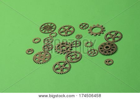 Ornate metallic gears used for watchmaking and machinery