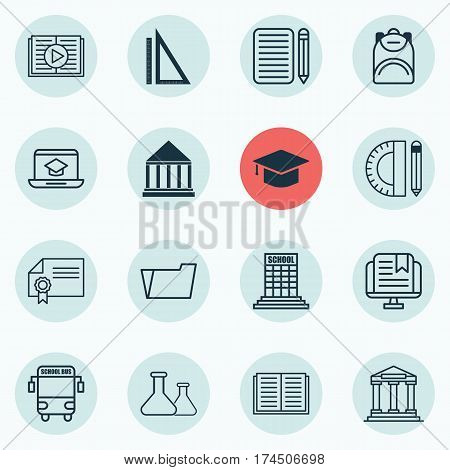 Set Of 16 Education Icons. Includes Haversack, Academy, Distance Learning And Other Symbols. Beautiful Design Elements.