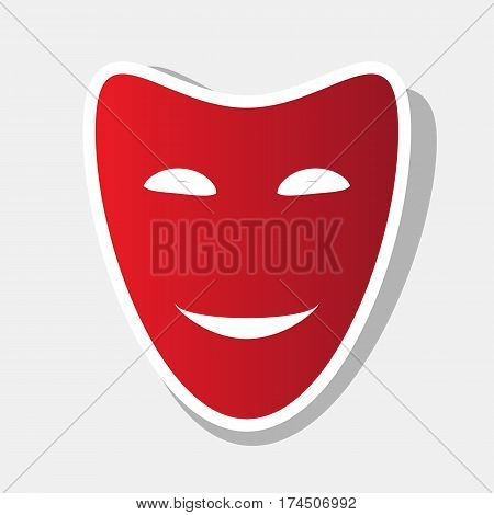 Comedy theatrical masks. Vector. New year reddish icon with outside stroke and gray shadow on light gray background.