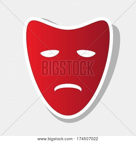 Tragedy theatrical masks. Vector. New year reddish icon with outside stroke and gray shadow on light gray background.