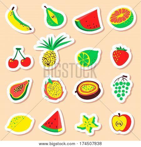 Tropical exotic fruits stickers set. Cute fresh organic fruits labels collection. Vector illustration of watermelon cherry pineapple pear maracuya starfruit banana grape papaya line lemon