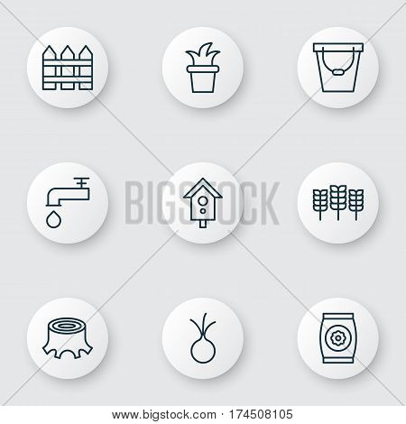 Set Of 9 Farm Icons. Includes Fertilizer, Wheat, Tree Stub And Other Symbols. Beautiful Design Elements.