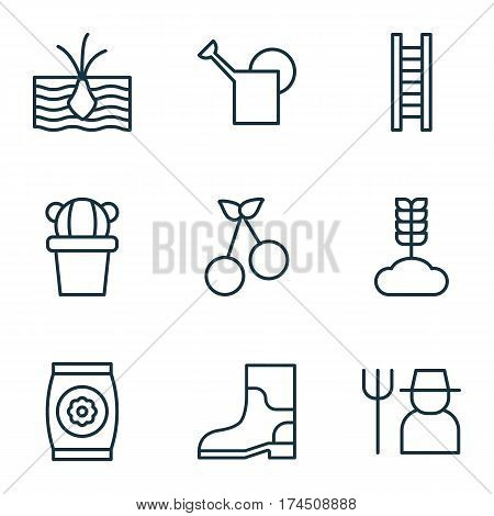 Set Of 9 Gardening Icons. Includes Bailer, Stairway, Cereal And Other Symbols. Beautiful Design Elements.