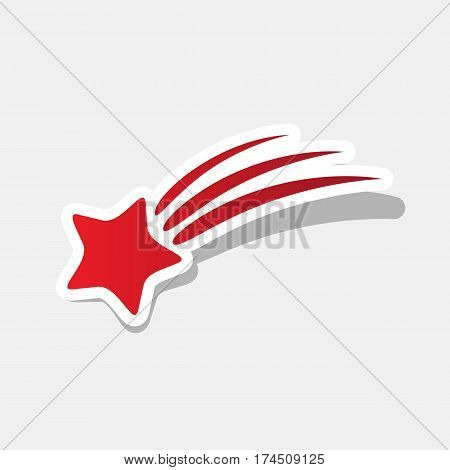 Shooting star sign. Vector. New year reddish icon with outside stroke and gray shadow on light gray background.