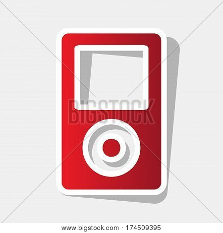 Portable music device. Vector. New year reddish icon with outside stroke and gray shadow on light gray background.