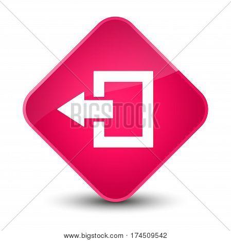 Logout Icon Elegant Pink Diamond Button