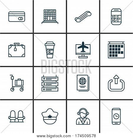 Set Of 16 Traveling Icons. Includes Takeaway Coffee, Plane Schedule, Plastic Card And Other Symbols. Beautiful Design Elements.