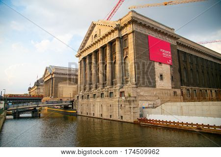 Facade of the Pergammonmuseum in Berlin on the river