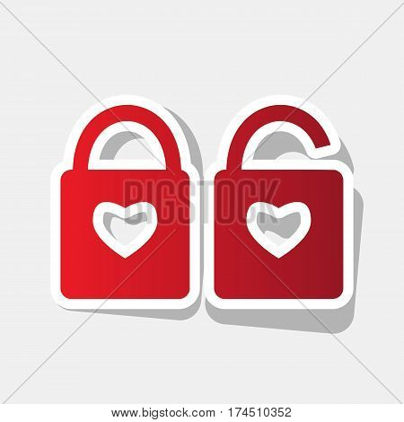 lock sign with heart shape. A simple silhouette of the lock. Shape of a heart. Vector. New year reddish icon with outside stroke and gray shadow on light gray background.