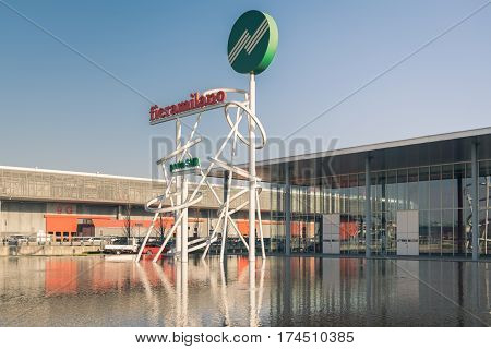 Milan Italy - March 17 2016: Symbol at the entrance of the South door of the Milan trade fair Italy.