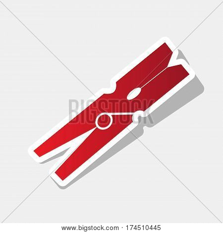 Clothes peg sign. Vector. New year reddish icon with outside stroke and gray shadow on light gray background.