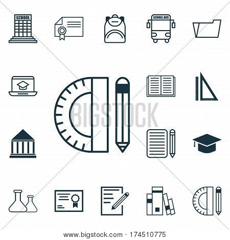 Set Of 16 Education Icons. Includes Document Case, Academy, Distance Learning And Other Symbols. Beautiful Design Elements.