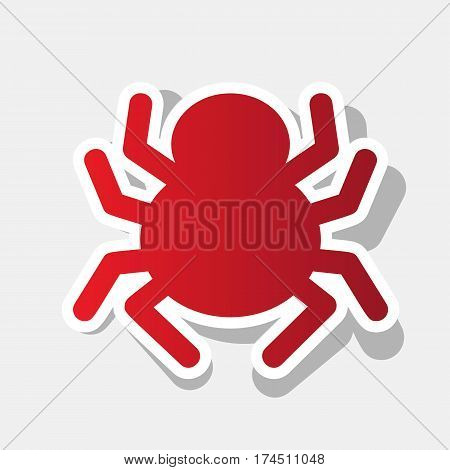 Spider sign illustration. Vector. New year reddish icon with outside stroke and gray shadow on light gray background.
