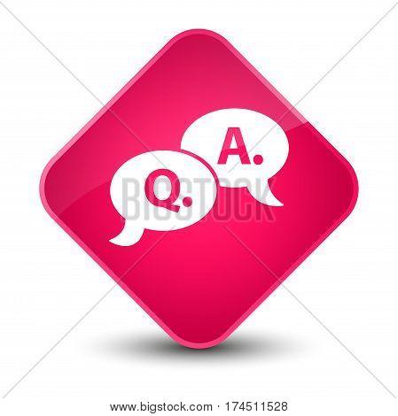 Question Answer Bubble Icon Elegant Pink Diamond Button