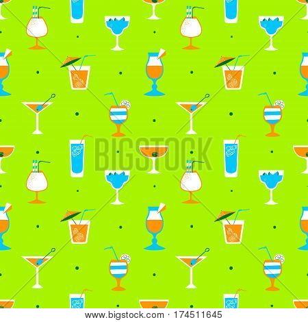 Seamless pattern with alcohol cocktails. Flat cartoon style tile background with drinks juice and decorations in glasses with fruits. Vector illustration for beach summer party wrapping posters and backdrops