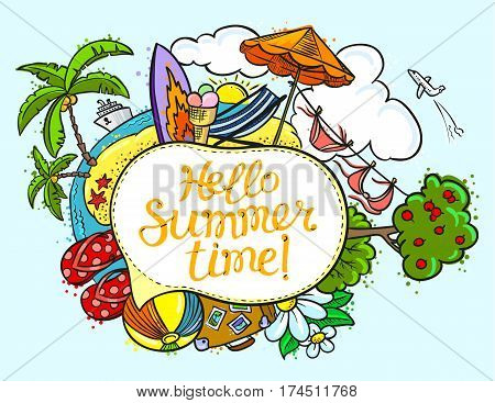 Summer speech bubble with Hello summer time lettering. Background with summer tropical beach and travel objects. Vector illustration with cruise liner flip flop island bikini beach chair umbrella sun summer landscape