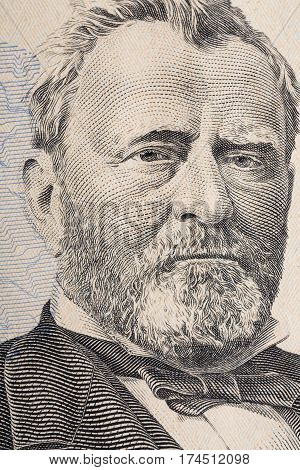 Vertical portrait of Ulysses Grant's face on the US 50 dollar bill. Macro shot.