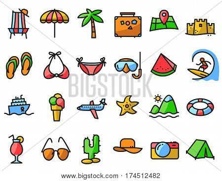 Summer beach icons set in line thin and simply style. Pictogram with recreation travel and vacation objects. Vector illustrations collection with airplane ship fruits camping tent laggage palm idyllic landscape ice cream cocktails