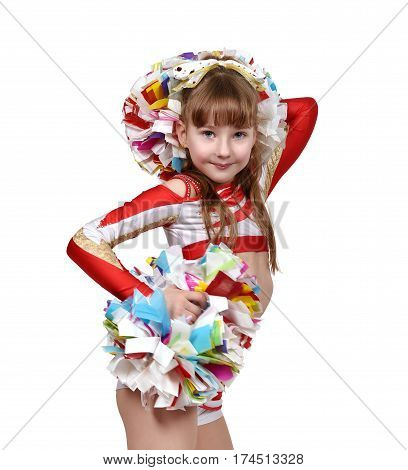 Cheerleader Girl With White And Red Dress