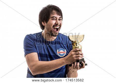 Athlete / Fan wearing blue uniform celebrates on white background