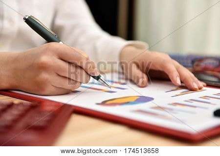 Businesswoman Working With Graph
