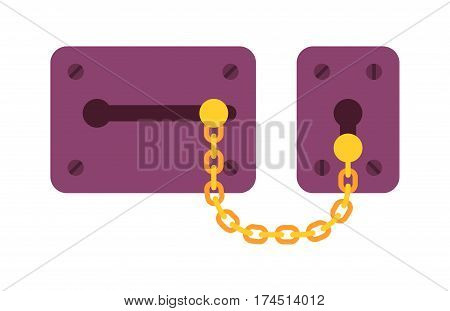 House door lock icon vector safety password privacy element with key and padlock protection security keyhole vector illustration. Locker close safeguard modern firewall equipment.