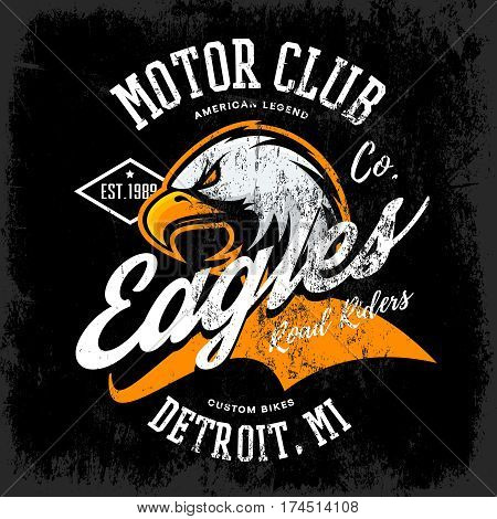 Vintage American furious eagle custom bike motor club tee print vector design isolated on dark background.  Michigan, Detroit street wear t-shirt emblem. Premium quality wild bird superior logo concept illustration.