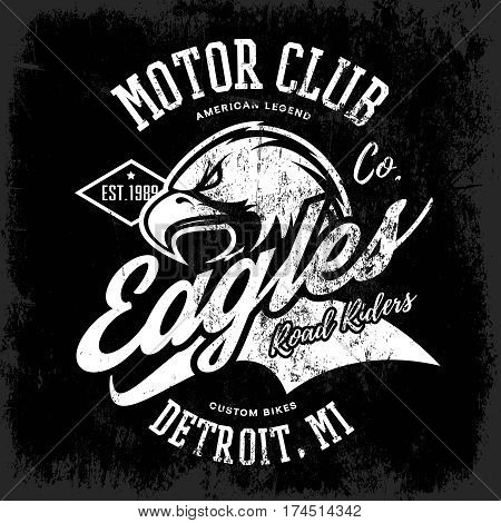 Vintage American furious eagle custom bike motor club tee print vector design isolated on dark background.  Michigan, Detroit street wear t-shirt emblem. Premium quality wild bird superior logo concept illustration