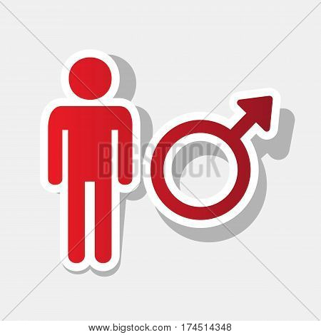 Male sign illustration. Vector. New year reddish icon with outside stroke and gray shadow on light gray background.