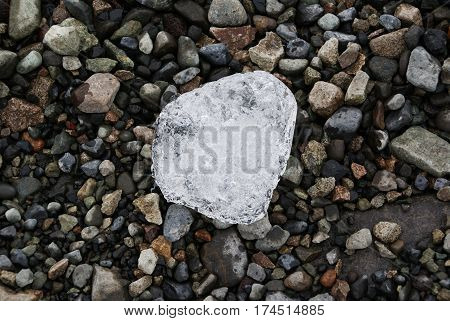 a piece of ice from the Vatnajokull glacier in Iceland the background make up pebbles