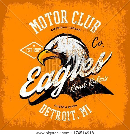 Vintage American furious eagle custom bike motor club tee print vector design isolated on orange background.  Michigan, Detroit street wear t-shirt emblem. Premium quality wild bird superior logo concept illustration.