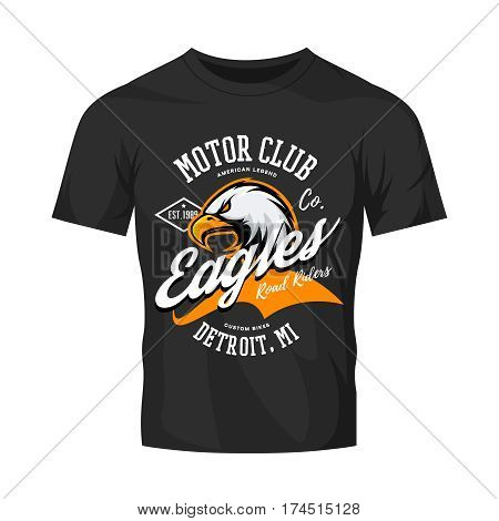 Vintage American furious eagle custom bike motor club tee print vector design isolated on black t-shirt mockup.  Michigan, Detroit street wear t-shirt emblem. Premium quality wild bird superior logo concept illustration.