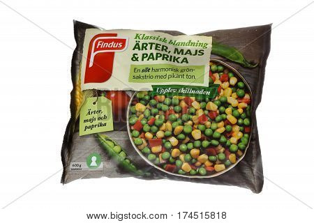 Stockholm Sweden - February 4 2017: One package with Findus vegetable mixture of frozen cornpeas and pepper for the Swedish market isolated on white.