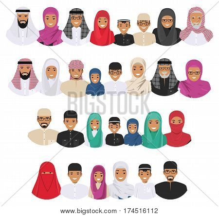 All age group of arab man family. Generations man. Arab people father mother grandmother grandfather son and daughter in traditional islamic clothes. Social concept. Family concept. Vector illustration.