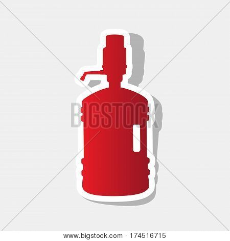 Plastic bottle silhouette with water and siphon. Vector. New year reddish icon with outside stroke and gray shadow on light gray background.