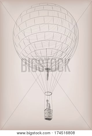 Men flying on air balloon. Vector beautiful vertical closeup side view vintage styled linear illustration isolated on beige background drawn in black line.