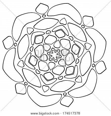 Monochrome Mandala. The template for the album. Symmetrical ornament for color book. Beautiful outline for coloring. The composition of stylized rocks.