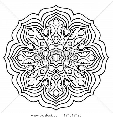 Monochrome Mandala. The template for the album. Symmetrical ornament for color book. Beautiful outline for coloring. Oriental motif of leaves.