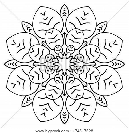 Monochrome Mandala. The template for the album. Symmetrical ornament for color book. Sketch for coloring. Floral motif of leaves.