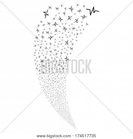Pulse random fireworks stream. Vector illustration style is flat black iconic symbols on a white background. Object fountain created from scattered pictographs.