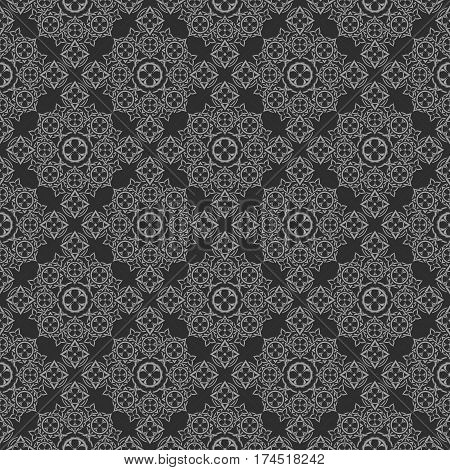 metallic silver pattern on black background made of geometric elements and iron flower
