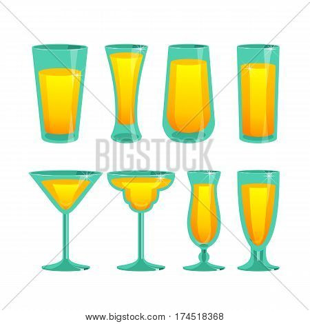 Vector illustration of a set of glass cups of different shapes filled with beverage on a white background
