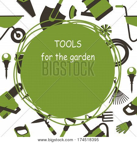 seamless pattern Set of icons of garden tools work equipment Design element for advertisment Ready for a text green white
